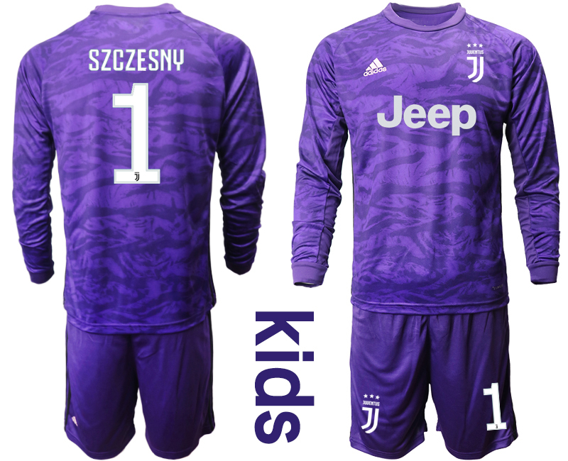 2019-20 Juventus 1 SZCZESNY Purple Long Sleeve Youth Goalkeeper Soccer Jersey