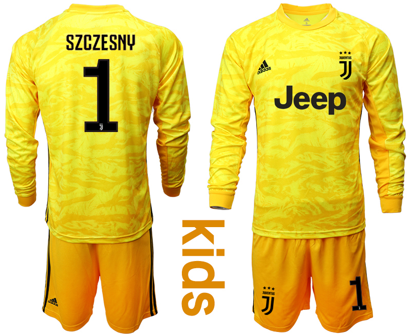 2019-20 Juventus 1 SZCZESNY Yellow Long Sleeve Youth Goalkeeper Soccer Jersey