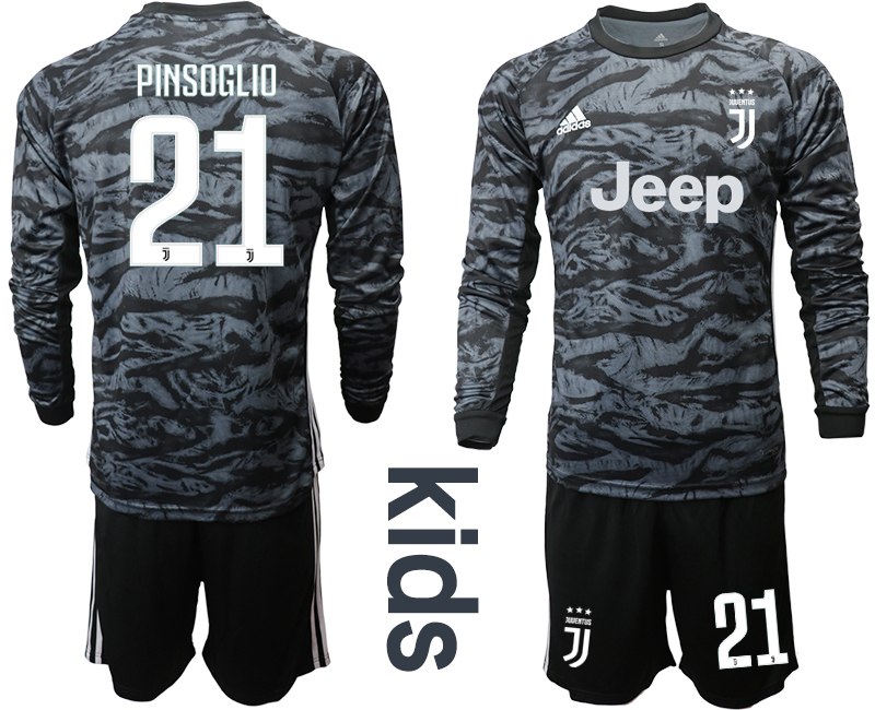 2019-20 Juventus 21 PINSOGLIO Black Long Sleeve Youth Goalkeeper Soccer Jersey