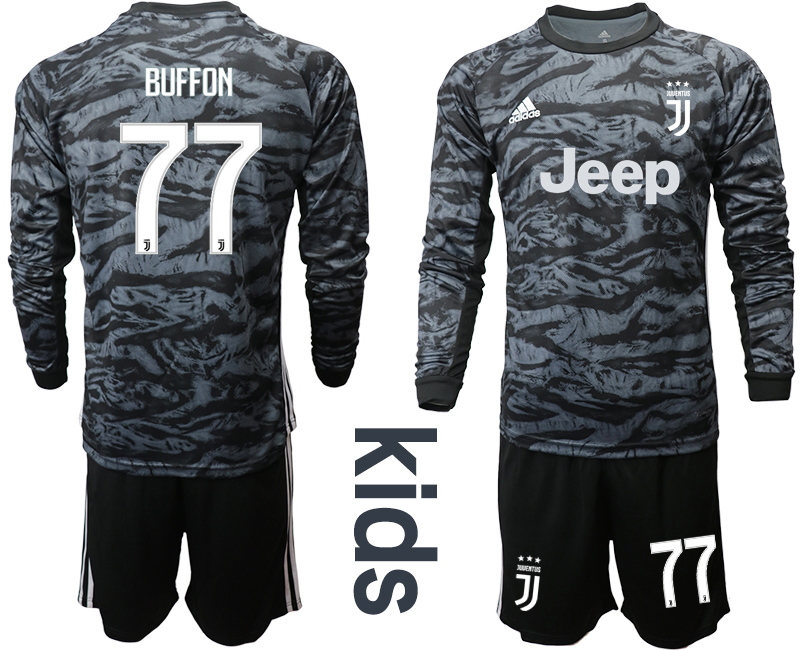 2019-20 Juventus 77 BUFFON Black Long Sleeve Youth Goalkeeper Soccer Jersey