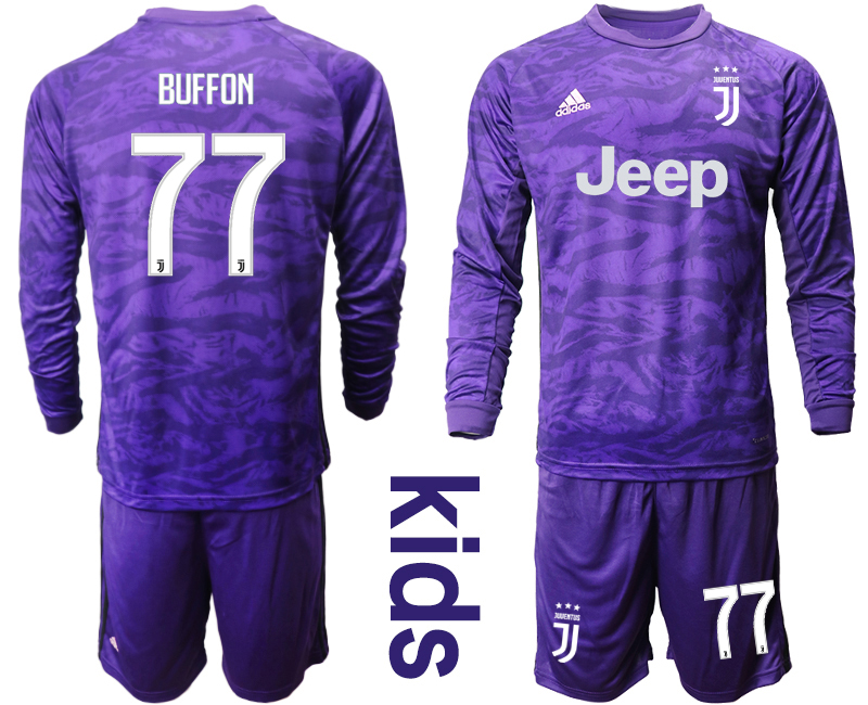 2019-20 Juventus 77 BUFFON Purple Long Sleeve Youth Goalkeeper Soccer Jersey