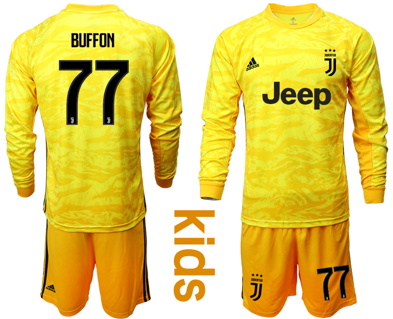 2019-20 Juventus 77 BUFFON Yellow Long Sleeve Youth Goalkeeper Soccer Jersey
