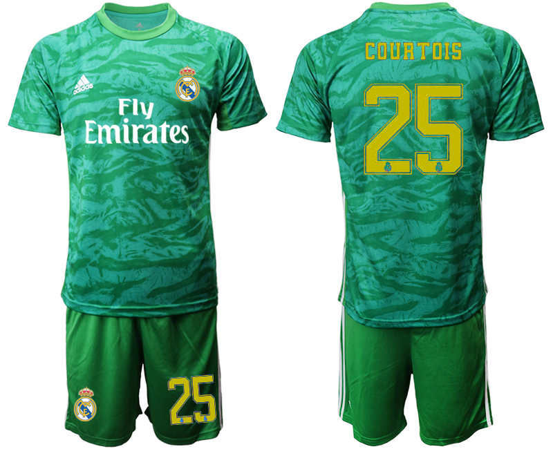 2019-20 Real Madrid 25 COURTOIS Green Goalkeeper Soccer Jersey