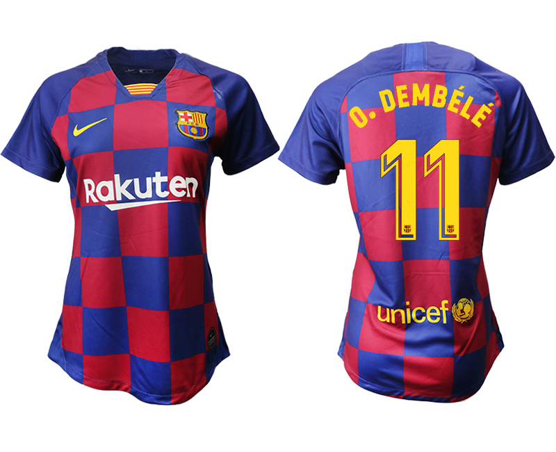 2019-20 Barcelona 11 O.DEMBELE Home Women Soccer Jersey