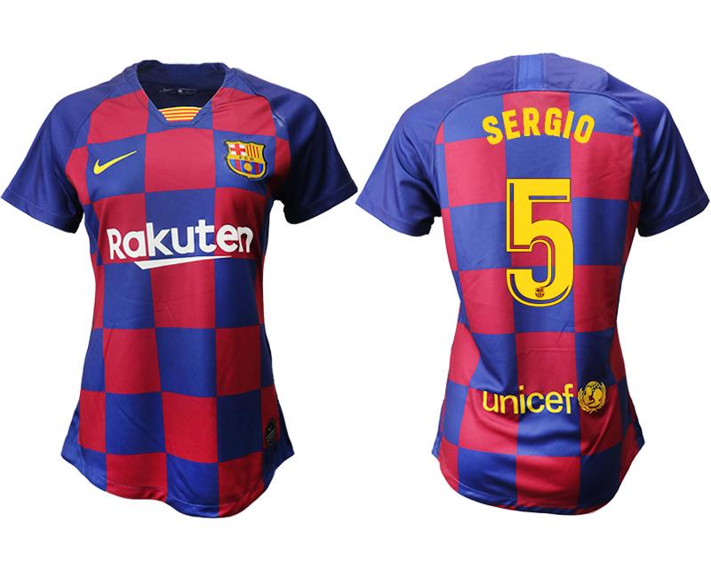 2019-20 Barcelona 5 SERGIO Home Women Soccer Jersey