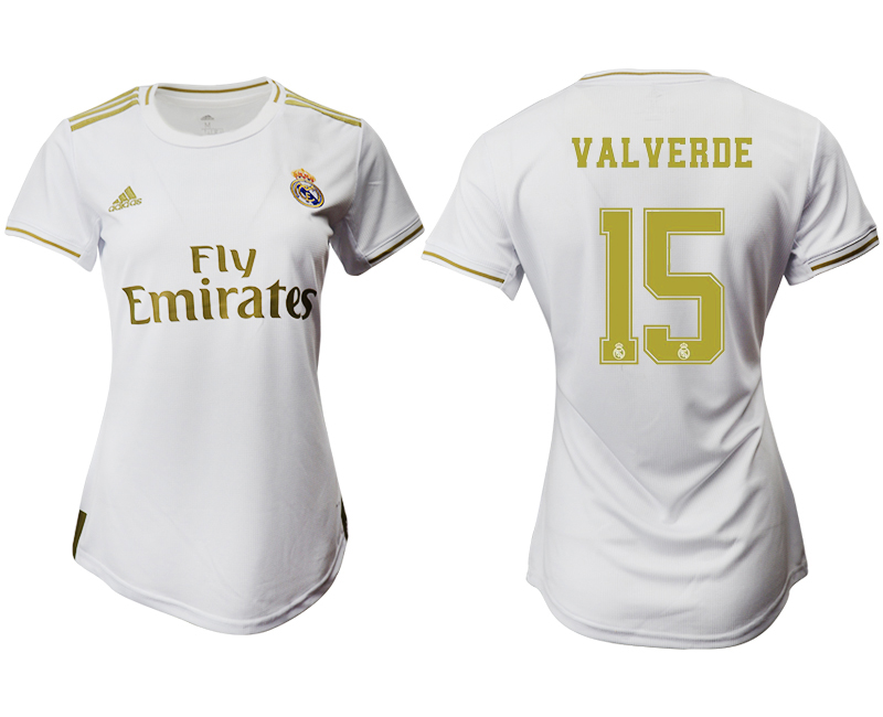 2019-20 Real Madrid 15 VALVERDE Home Women Soccer Jersey
