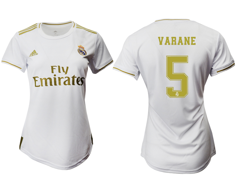 2019-20 Real Madrid 5 VARANE Home Women Soccer Jersey