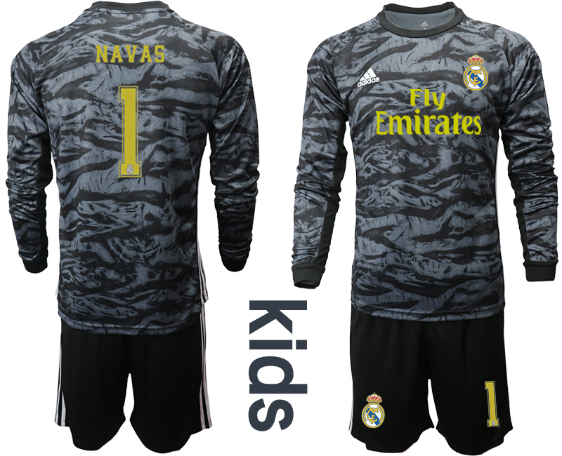 2019-20 Real Madrid 1 NAVAS Black Long Sleeve Youth Goalkeeper Soccer Jersey