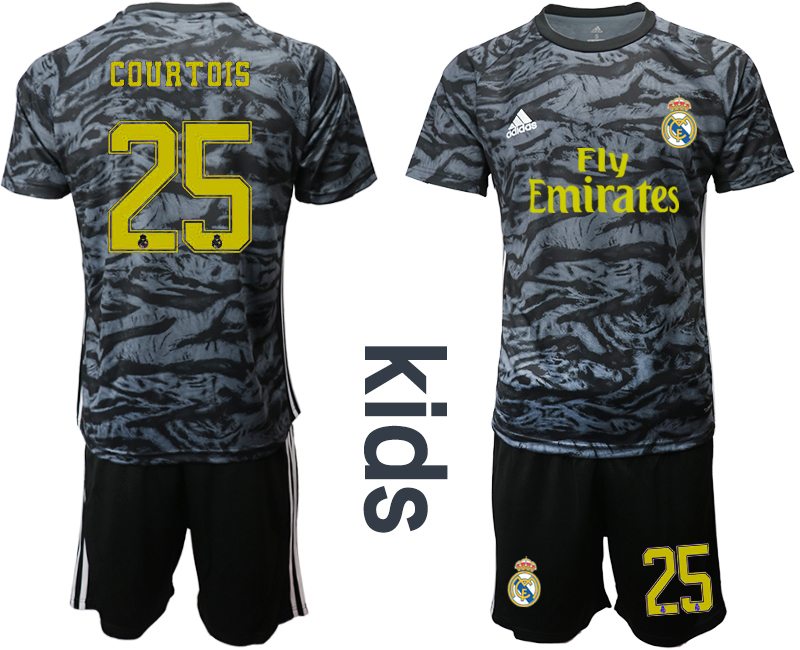 2019-20 Real Madrid 25 COURTOIS Black Youth Goalkeeper Soccer Jersey