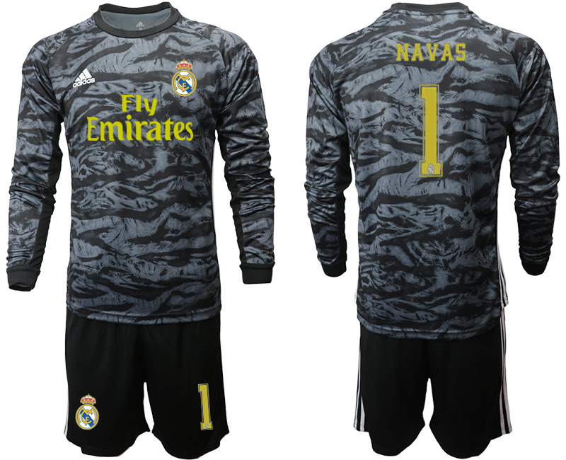 2019-20 Real Madrid 1 NAVAS Black Long Sleeve Goalkeeper Soccer Jersey