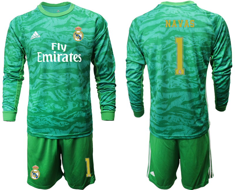 2019-20 Real Madrid 1 NAVAS Green Long Sleeve Goalkeeper Soccer Jersey