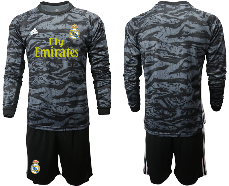 2019-20 Real Madrid Black Long Sleeve Goalkeeper Soccer Jersey