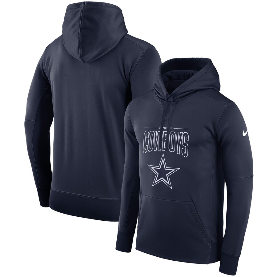 Dallas Cowboys Nike Sideline Property Of Logo Performance Pullover Hoodie Navy