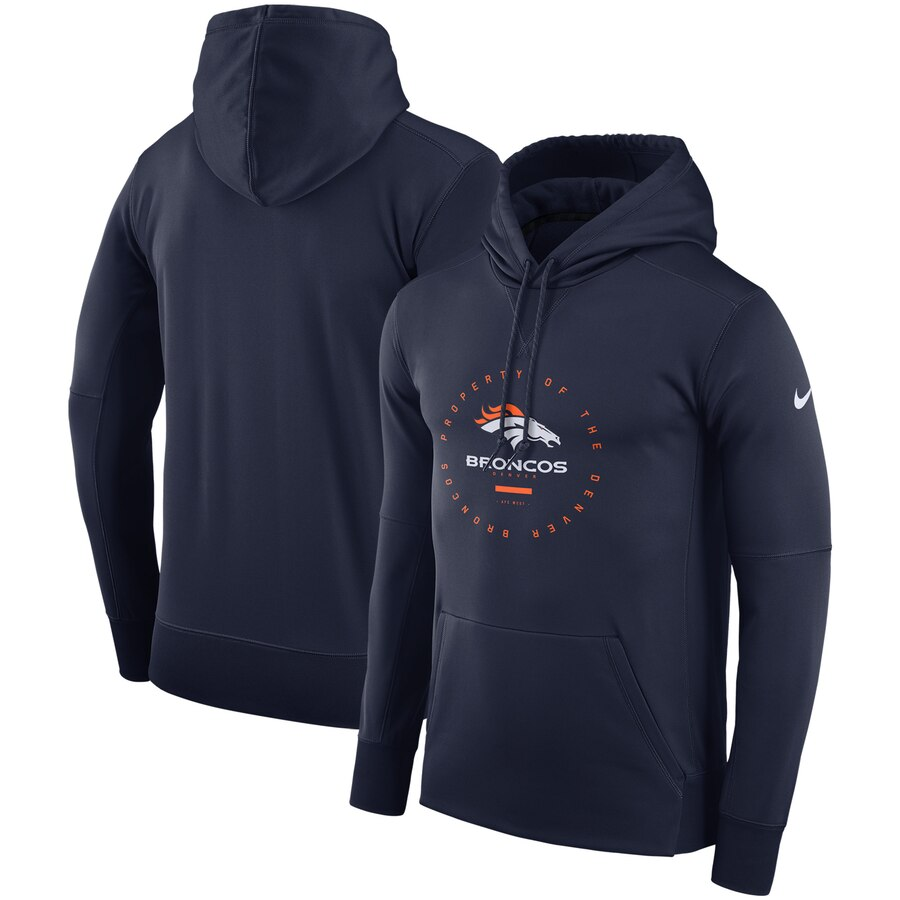 Denver Broncos Nike Sideline Property Of Wordmark Logo Performance Pullover Hoodie Navy