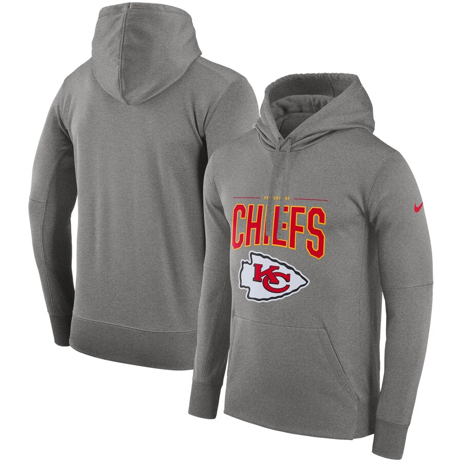 Kansas City Chiefs Nike Sideline Property of Performance Pullover Hoodie Gray
