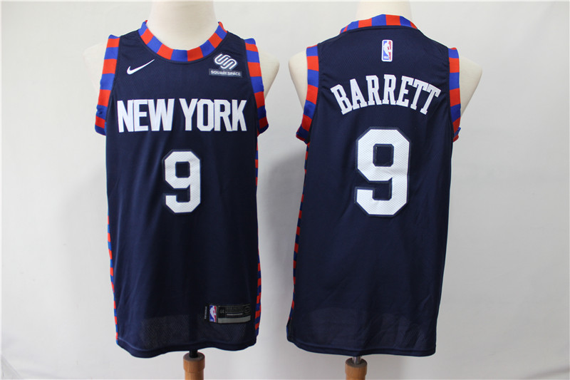 Knicks 9 R.J. Barrett Navy 2019 NBA Draft First Round Pick Nike Swingman Jersey