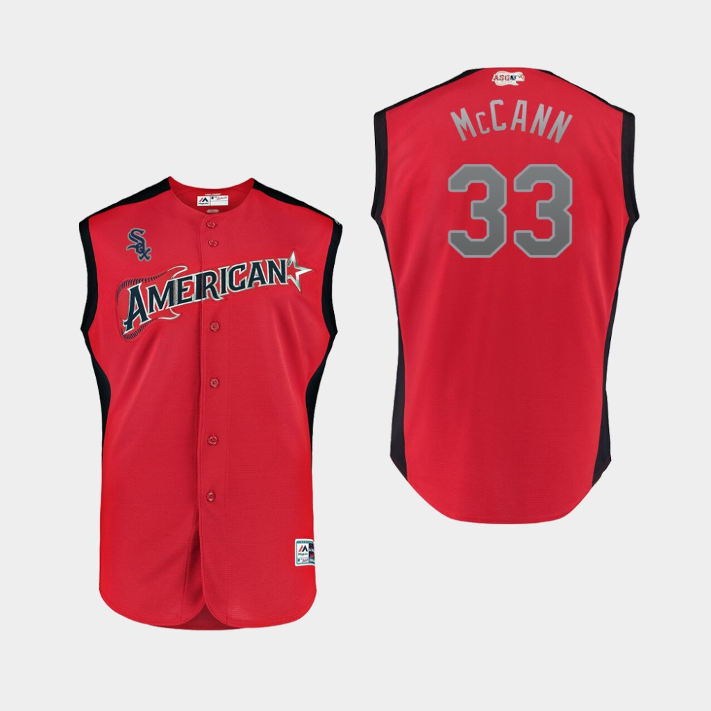 American League 33 James McCann Red Youth 2019 MLB All-Star Game Workout Player Jersey