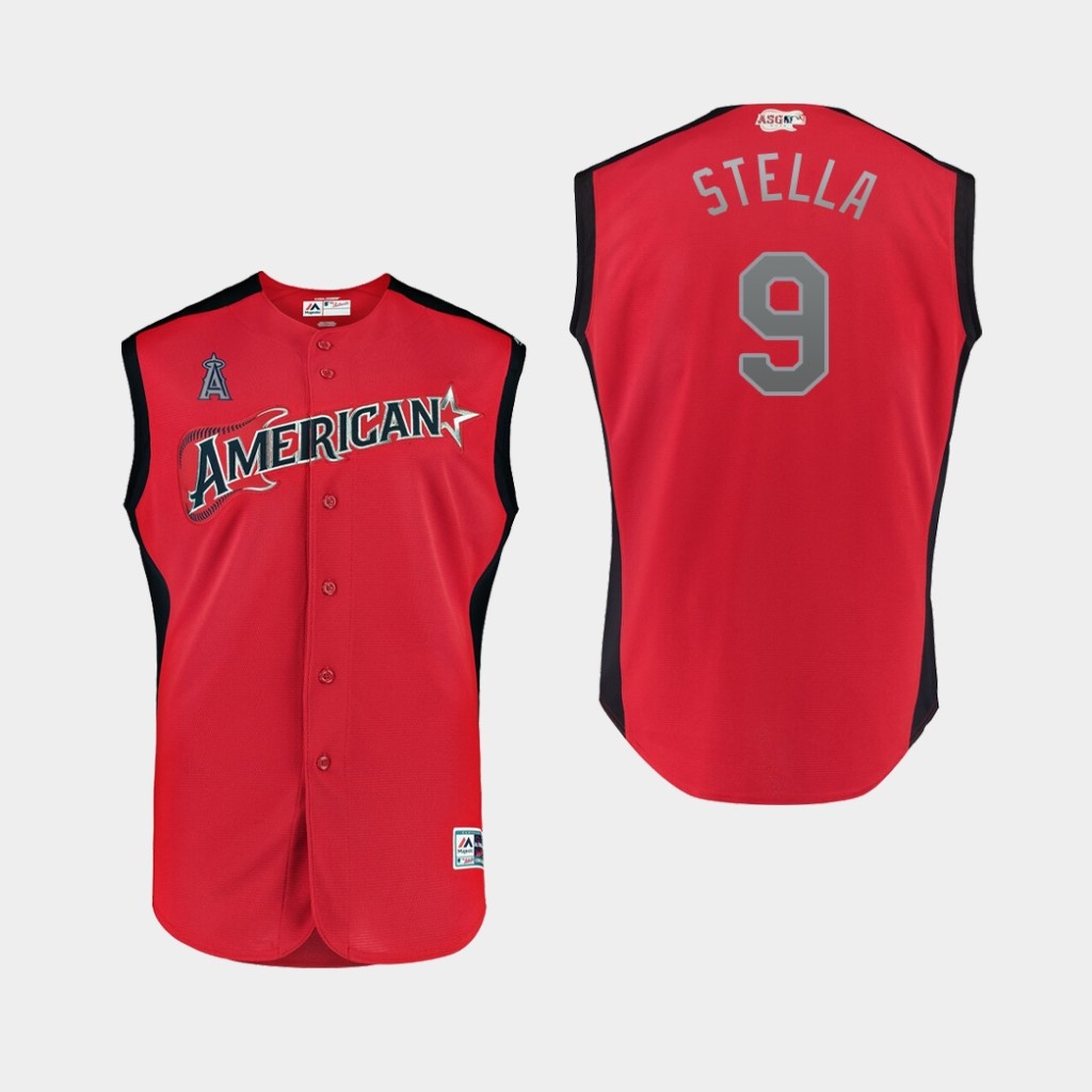 American League 9 Tommy La Stella Red Youth 2019 MLB All-Star Game Workout Player Jersey