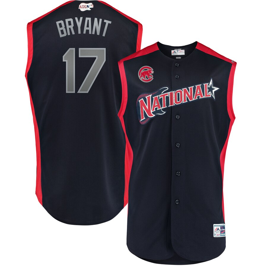 National League 17 Kris Bryant Navy Youth 2019 MLB All-Star Game Workout Player Jersey
