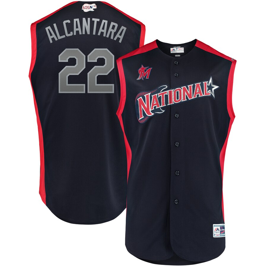 National League 22 Sandy Alcantara Navy Youth 2019 MLB All-Star Game Workout Player Jersey