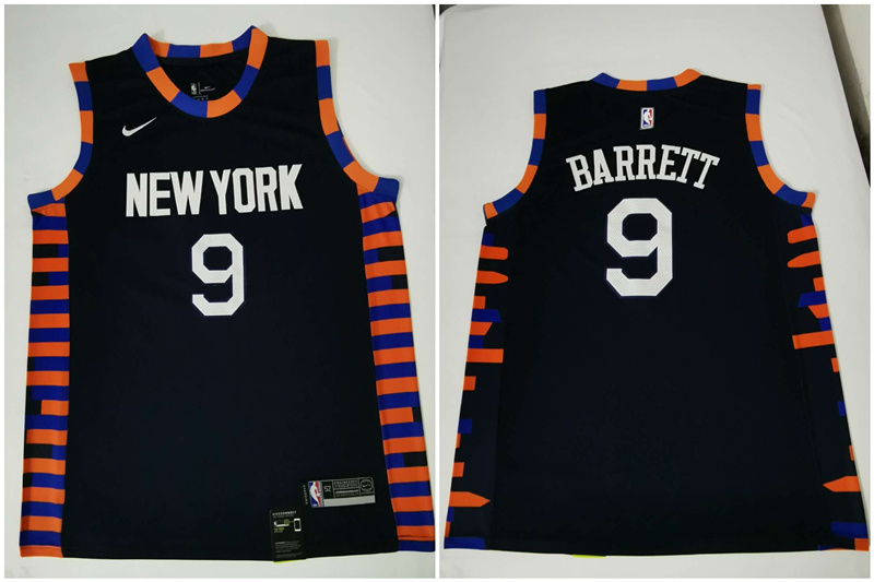 Knicks 9 R.J. Barrett Navy City Edition Nike Swingman Jersey