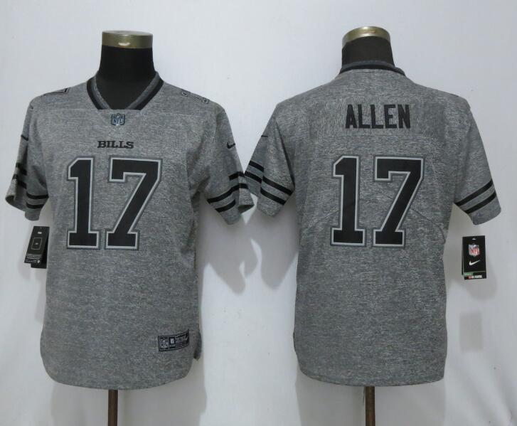 Nike Bills 17 Josh Allen Gray Gridiron Gray Women Vapor Untouchable Limited Jersey