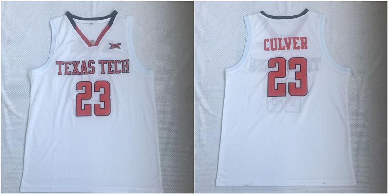 Texas Tech Red Raiders 23 Jarrett Culver White College Basketball Jersey