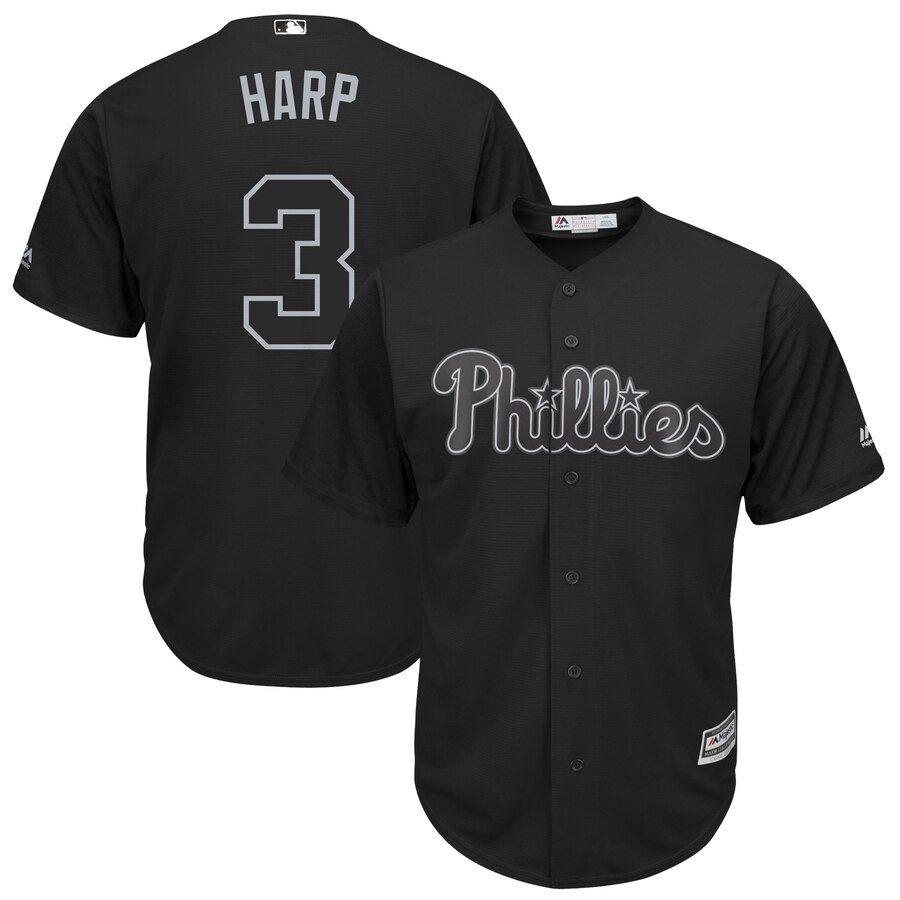"Phillies 3 Bryce Harper ""Harp"" Black 2019 Players' Weekend Player Jersey"