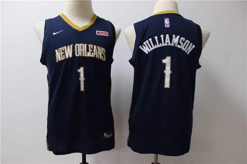 Pelicans 1 Zion Williamson Navy Youth Nike Swingman Jersey