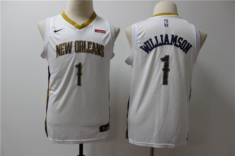 Pelicans 1 Zion Williamson White Youth Nike Swingman Jersey