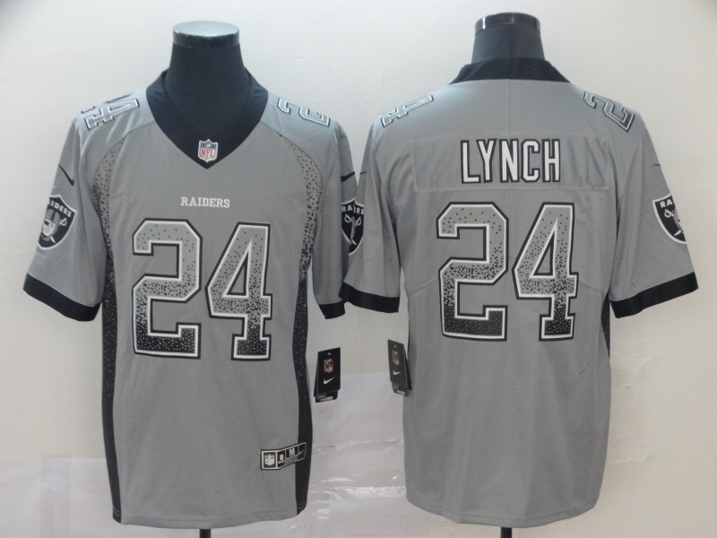 Nike Raiders 24 Marshawn Lynch Gray Drift Fashion Limited Jersey