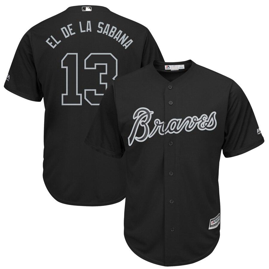 "Braves 13 Ronald Acuna Jr ""El De La Sabana"" Black 2019 Players' Weekend Player Jersey"