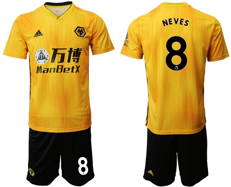 2019-20 Wolverhampton Wanderers 8 NEVES Home Soccer Jersey
