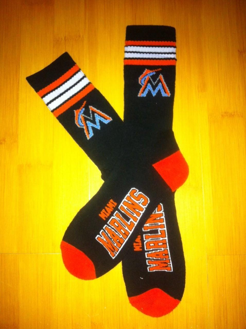 Miami Marlins Team Logo Black MLB Socks