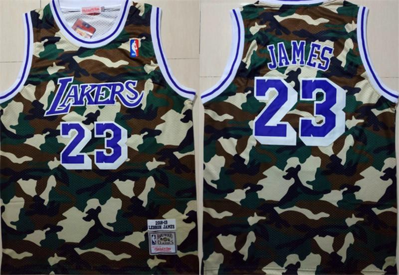 Lakers 23 Lebron James Camo 2018-19 Hardwood Classics Jersey