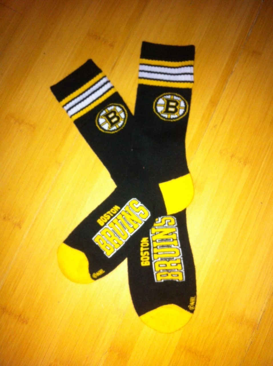 Boston Bruins Team Logo Black NHL Socks