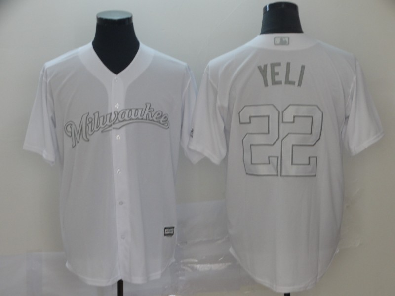 """Brewers 22 Christian Yelich """"Yeli"""" White 2019 Players' Weekend Player Jersey"""