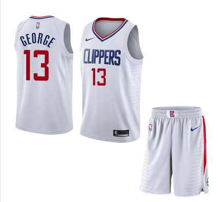 Clippers 13 Paul George White City Edition Nike Swingman Jersey(With Shorts)