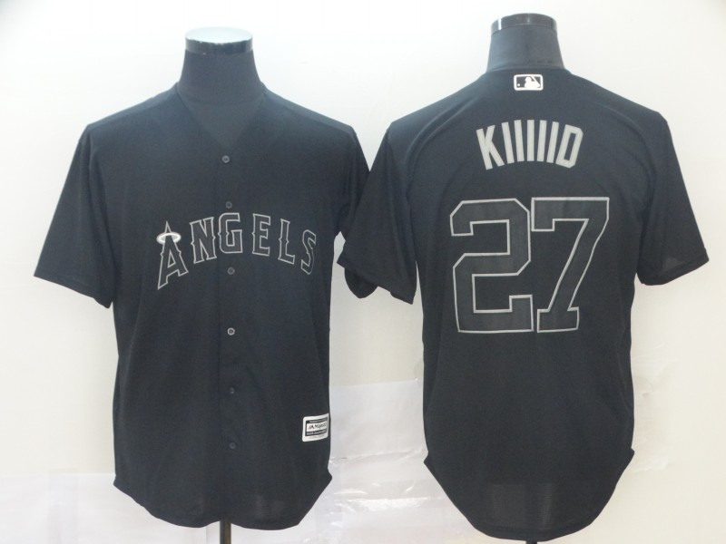 """Angels 27 Mike Trout """"Kiiiid"""" Black 2019 Players' Weekend Player Jersey"""