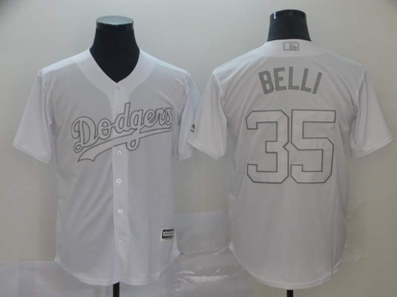 """Dodgers 35 Cody Bellinger """"Belli"""" White 2019 Players' Weekend Player Jersey"""