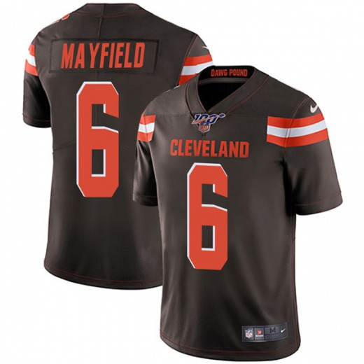 Nike Browns 6 Baker Mayfield Brown 100th Season Vapor Untouchable Limited Jersey