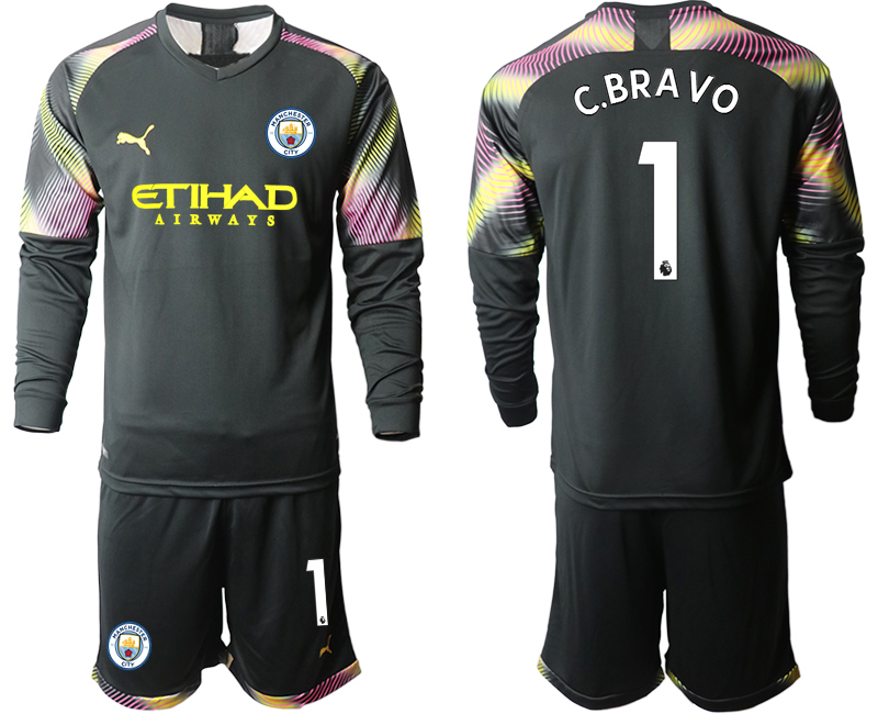 2019-20 Manchester City 1 C.BRAVO Black Goalkeeper Long Sleeve Soccer Jersey