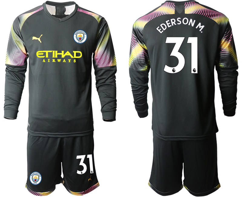 2019-20 Manchester City 31 EDERSON M. Black Goalkeeper Long Sleeve Soccer Jersey