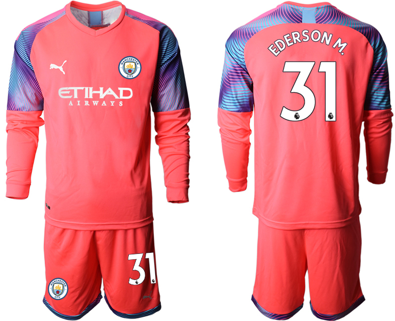 2019-20 Manchester City 31 EDERSON M. Pink Goalkeeper Long Sleeve Soccer Jersey