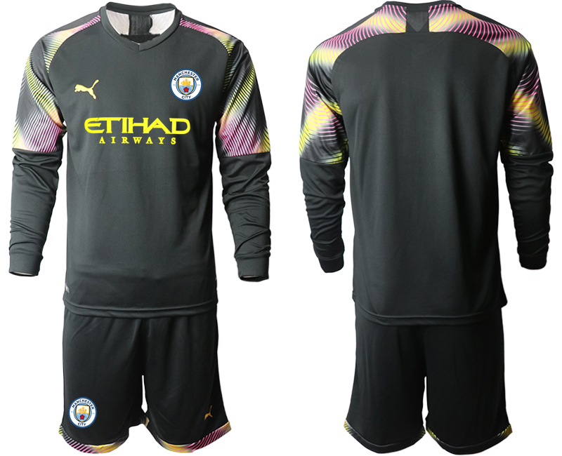 2019-20 Manchester City Black Goalkeeper Long Sleeve Soccer Jersey