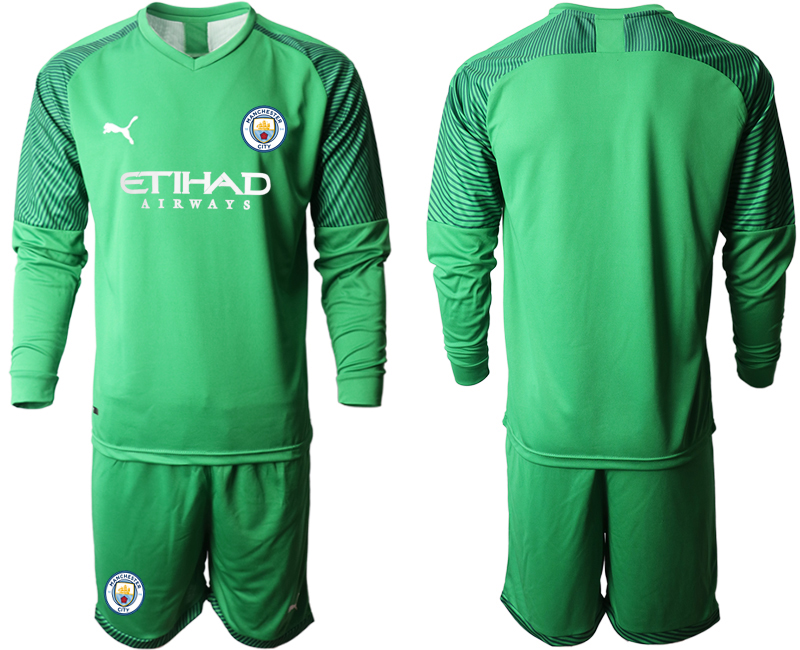 2019-20 Manchester City Green Goalkeeper Long Sleeve Soccer Jersey