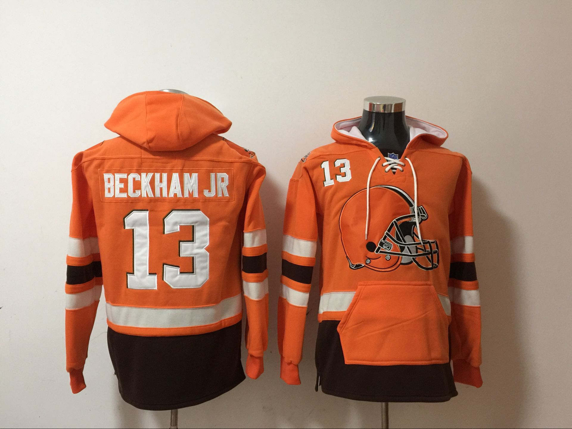Nike Browns 13 Odell Beckham Jr Orange All Stitched Hooded Sweatshirt