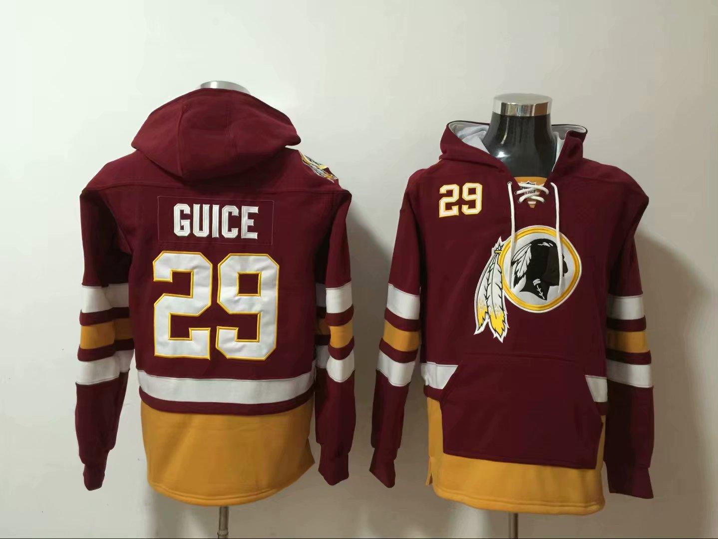 Nike Redskins 29 Derrius Guice Burgundy All Stitched Hooded Sweatshirt