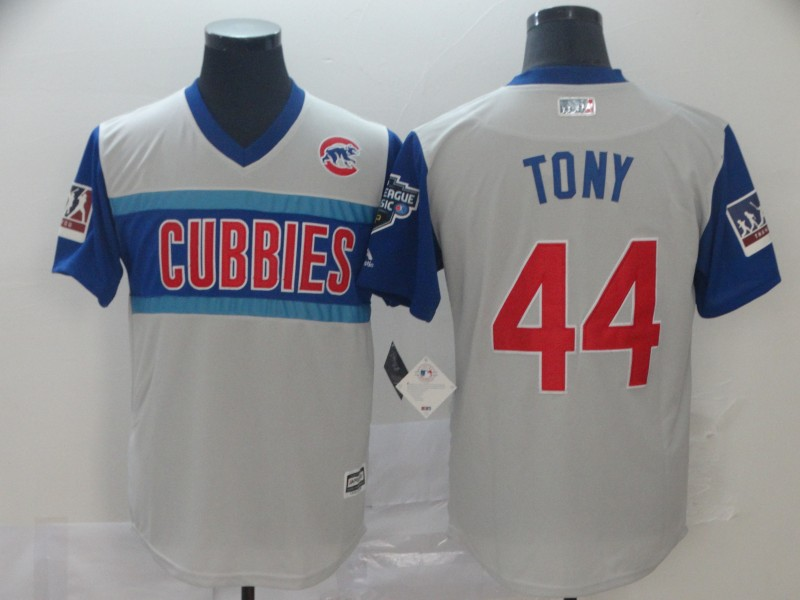 "Cubs 44 Anthony Rizzo ""Tony"" Gray 2019 MLB Little League Classic Player Jersey"