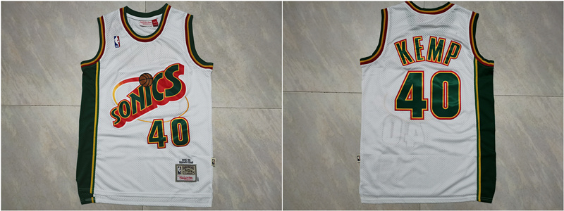 Supersonics 40 Shawn Kemp White 1995-96 Hardwood Classics Jersey